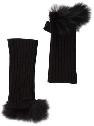 Sofia Cashmere Ribbed Cashmere Knit Hand Warmers with Genuine Dyed Fox Fur Trim