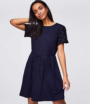 LOFT Petite Petal Sleeve Tie Waist Dress