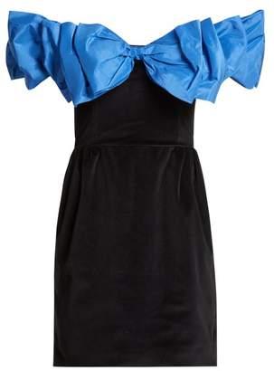 Isa Arfen Bow Wow Off The Shoulder Velvet Mini Dress - Womens - Black Blue