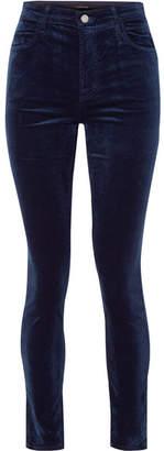 J Brand Maria Cotton-blend Velvet Skinny Pants - Midnight blue