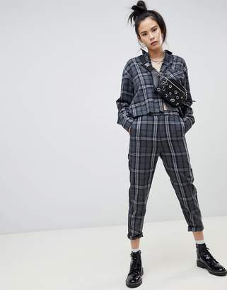 Pull&Bear gray check pants two-piece in gray