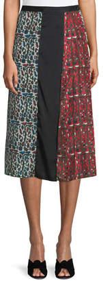 Carven Floral Birds Pleated Silk Midi Skirt