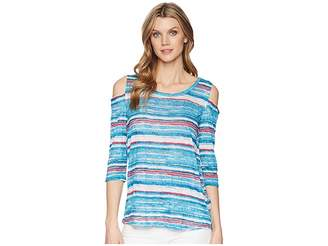 Tribal Printed Crinkle Jersey 3/4 Sleeve Cold Shoulder Top Women's Short Sleeve Pullover