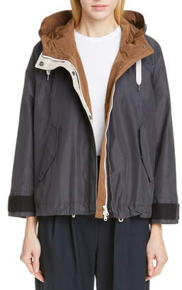 Brunello Cucinelli Monili Trim Hooded Taffeta Jacket