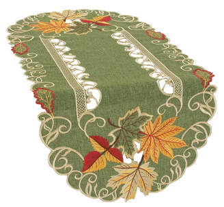 Xia Home Fashions Delicate Leaves Embroidered Cutwork Fall Table Runner