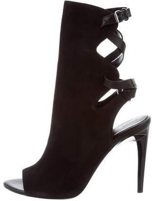 Proenza Schouler Suede Peep-Toe Ankle Boots
