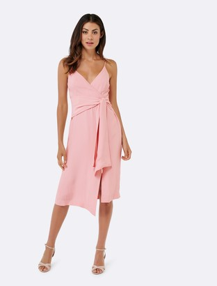 Forever New Laken Asymmetric Tie Slip Dress - Lotus Pink - 4