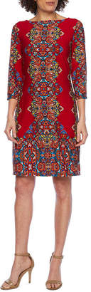 LONDON STYLE 3/4 Sleeve Paisley Shift Dress