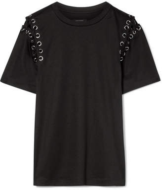 Isabel Marant Yaden Lace-up Cotton And Modal-blend T-shirt - Black