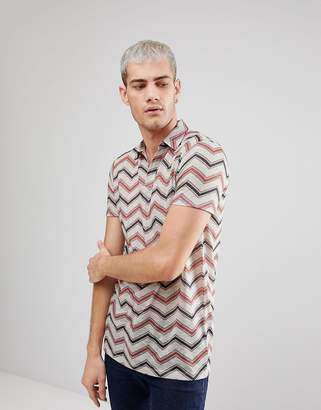 Asos Design Longline Polo With Chevron Stripe & Revere Collar In Linen Look