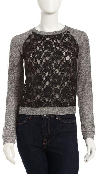 BCBGMAXAZRIA Lace-Front Sweatshirt
