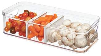 clear Idesign iDesign Stackable Refrigerator and Pantry Large Divided Bin, BPA Free Plastic, and White