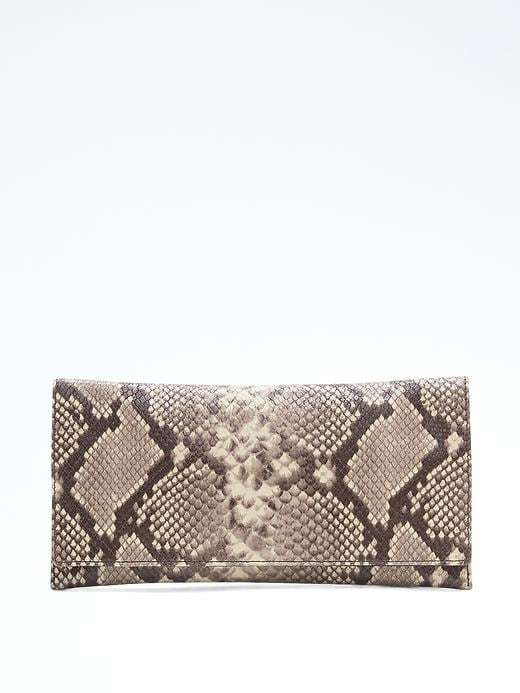 Banana Republic  Snake-Effect Leather Exotic Clutch