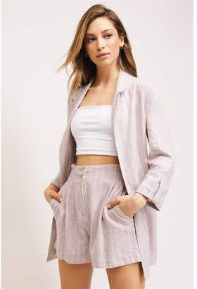 Dynamite Logan Linen Boyfriend Blazer Light Pink W/ Stripes
