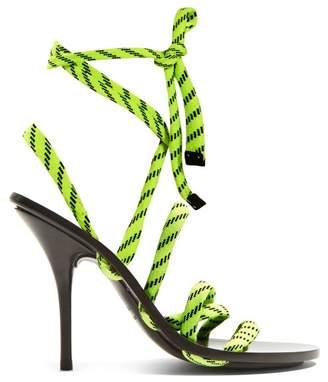 Balenciaga Fluorescent Laced Wrap Around High Heeled Sandals - Womens - Yellow