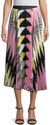 MSGM Women's Pleated Print Midi Skirt