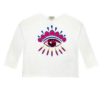 Kenzo Long-Sleeve Flip Sequin Eye T-Shirt, Size 14-16