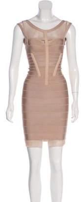 Herve Leger Dune Mesh-Trimmed Dress Tan Dune Mesh-Trimmed Dress