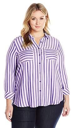 Melissa McCarthy Women's Plus Size Long Sleeve Button Down Striped Top