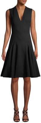 Alexander McQueen Women's V-neck Fit-And-Flare Dress