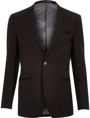 River Island Mens Black Vito slim fit wool-blend blazer