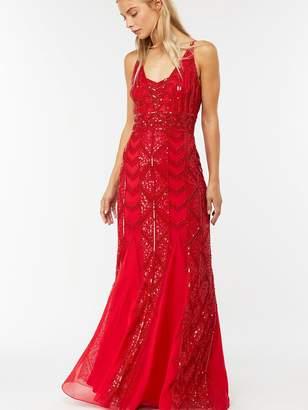 Monsoon Jessica Embellished Maxi Dress - Red