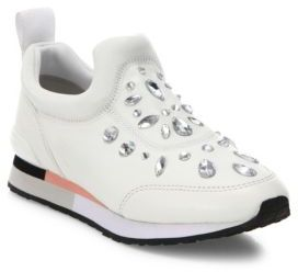 Tory Burch Laney Crystal-Embellished Leather Sneakers $295 thestylecure.com