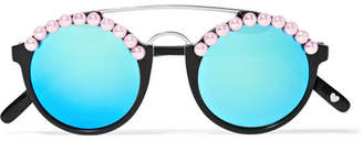 Freda Banana - Leo Embellished Round-frame Acetate And Silver-tone Mirrored Sunglasses - Black
