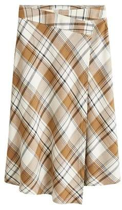 MANGO Check wrap skirt