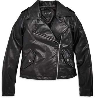 Bebe Girls' Faux Leather Moto Jacket - Big Kid
