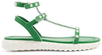 Valentino Free Rockstud Leather Sandals - Womens - Green White