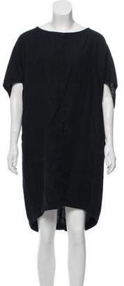 Black Crane Linen Mini Dress