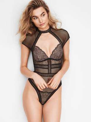Very Sexy Fishnet Lace Cap-sleeve Bodysuit