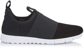 Jimmy Choo OAKLAND/M Black Mesh and Suede Trainers