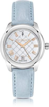 Trussardi T01 Lady Stainless Steel and Blue Leather Women's Watch