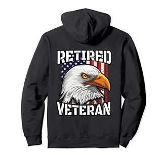 Retired Veteran Hoodie Patriotic US Flag Bald Eagle Gift