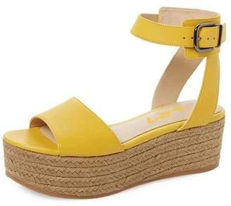 FSJ Women Espadrilles Wedges Open Toe Platform Sandals Black White Shoes Size 14