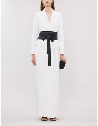 Brunello Cucinelli Padded-shoulder V-neck wool-blend maxi dress