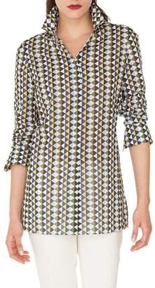 Akris Diamond Print Cotton Voile Tunic Blouse