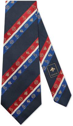 Gucci Symbols Regimental stripe wide silk tie