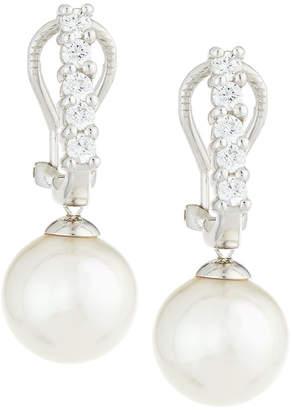 Majorica White Pearl & CZ Crystal Drop Earrings, 10mm