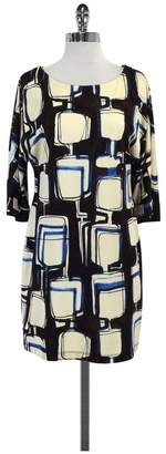 Ali Ro Cream Brown & Blue Abstract Print Dress $68.99 thestylecure.com