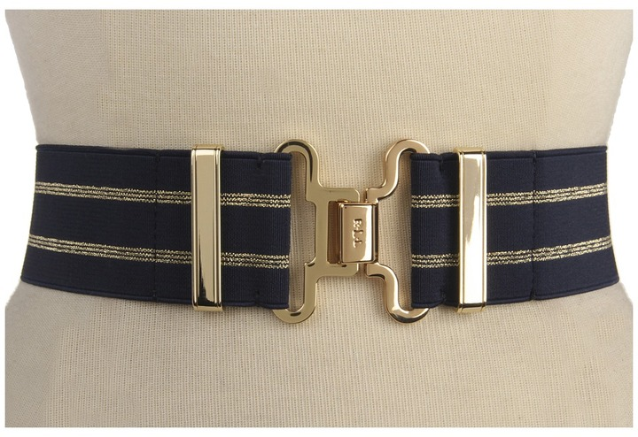 Lauren Ralph Lauren Striped Stretch Belt with Interlock Closure (Navy/Gold) - Apparel