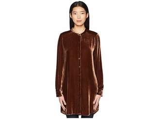 Eileen Fisher Velvet Mandarin Collar Long Shirt