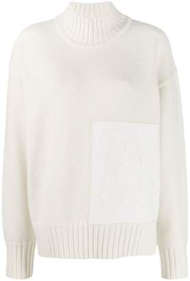 Jil Sander floral patch turtleneck sweater