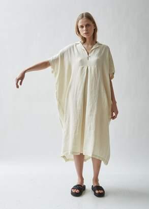 Black Crane Kite Short Sleeve Linen Dress