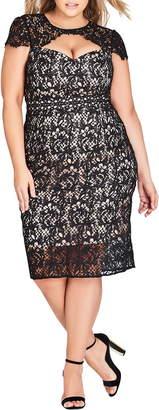 City Chic Pretty Lace Sheath Dress