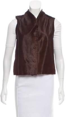 Alexander McQueen Mock Neck Ponyhair Vest