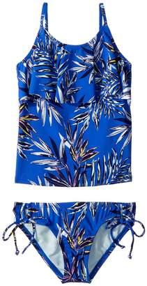 Hobie Kids Sahara Palms Ruffle Tankini Adjustable Hipster Set Girl's Swimwear Sets