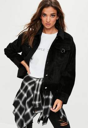 Missguided Black Faux Pony Hair Oversized Trucker Jacket, Black